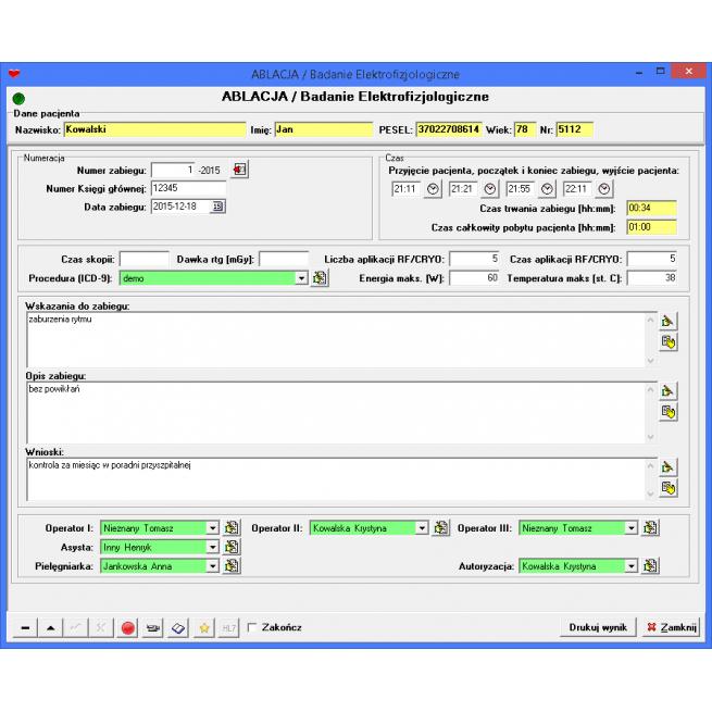 elektrofizjologia program baza danych